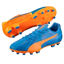 Puma evoSPEED 4.4 Tricks FG Soccer Cleats (Orange Clownfish/Electric Blue Lemonade)