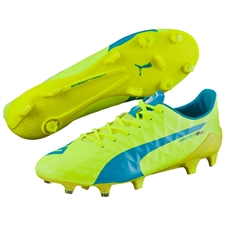 Puma evoSPEED SL-S FG Soccer Cleats (Safety Yellow/Atomic Blue/White)