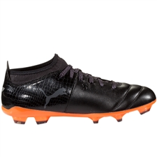 Puma One Lux 2 FG Soccer Cleats (Black/Shocking Orange)