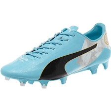 Puma evoSPEED SL Sergio Agüero LE FG Soccer Cleats (Bluefish/White/Quarry/Black/Gold)