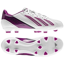 Adidas Womens F30 (Leather) TRX FG Soccer Cleats (Running White/Vivid Pink/Urban Sky)