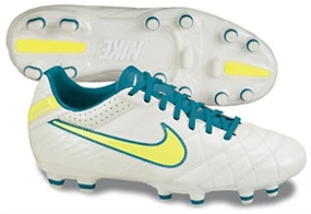 Nike Women's Tiempo Mystic IV FG Soccer Cleats (Mtlc Summit White/Neo Turq/Electric Yellow)