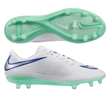 Nike Women's Hypervenom Phatal FG Soccer Cleats (White/Hyper Cobalt/Medium Mint)
