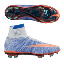 Nike Women's Mercurial SuperFly IV FG Soccer Cleats (Blue Tint/Racer Blue/Hyper Turq/Bright Mango)