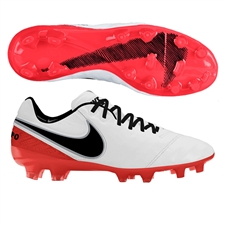 Nike Women's Tiempo Legend VI FG Soccer Cleats (White/Bright Crimson/Black)