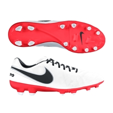 Nike Women's Tiempo Mystic V FG Soccer Cleats (White/Bright Crimson/Black)