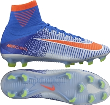 Nike Women's Mercurial SuperFly V FG Soccer Cleats (Blue Tint/Bright Crimson/Racer Blue/Volt)
