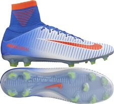 Nike Women's Mercurial Veloce III FG Soccer Cleats (White/Bright Crimson/Racer Blue/Volt)