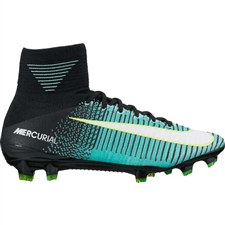 Nike Women's Mercurial SuperFly V FG Soccer Cleats (Light Aqua/White/Black/Volt)