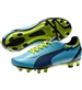 Puma Women's evoSPEED 4 FG Soccer Cleats (Blue Mist/New Navy/Lime Punch)