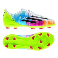 Adidas F10 TRX FG Messi Youth Soccer Cleats (White/Black/Solar Slime)