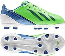 Adidas Youth F30 TRX FG Soccer Cleats (Green Zest/Dark Blue/Joy Blue)