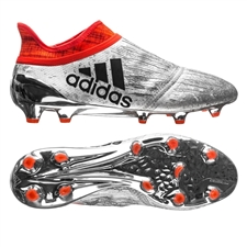 Adidas X 16+ PureChaos Youth FG Soccer Cleats (Silver Metallic/Core Black/Solar Red) | Adidas Soccer Cleats |FREE SHIPPING| Adidas S79517 |  SOCCERCORNER.COM