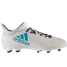 Adidas X 17.3 Youth FG Soccer Cleats (White/Energy Blue/Clear Grey) | Adidas S82367 | SOCCERCORNER.COM