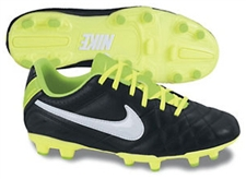 Nike Tiempo Natural IV LTR FG Youth Soccer Cleats (Black/Electric Green/White)