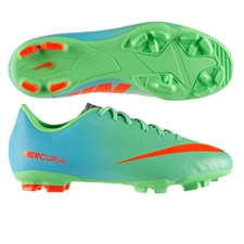 Nike Youth Mercurial Victory IV FG Soccer Cleats (Neo Lime/Metallic Silver/Polarized Blue/Total Crimson)