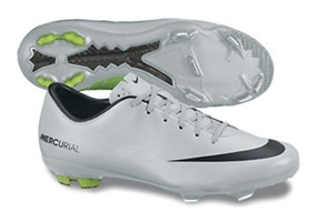 Nike Youth Mercurial Vapor IX FG Soccer Cleats (Metallic Platinum/Electric Green/Black)