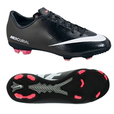 Nike Youth Mercurial Vapor IX FG Soccer Cleats (Black/White/Dark Charcoal/Atomic Red)
