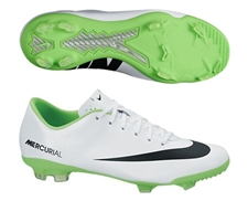 Nike Youth Mercurial Vapor IX FG Soccer Cleats (White/Electric Green/Black)