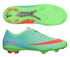 Nike Youth Mercurial Vapor IX FG Soccer Cleats (Neo Green/Metallic Silver/Polarized Blue/Total Crimson)