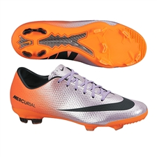 Nike Youth Mercurial Vapor IX FG Soccer Cleats (Metallic Mach Purple/Black/Total Orange)