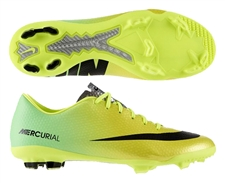 Nike Youth Mercurial Vapor IX FG Soccer Cleats (Vibrant Yellow/Black/Neo Lime)