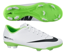 Nike Youth Mercurial Veloce FG Soccer Cleats (White/Electric Green/Black)