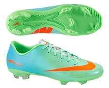 Nike Youth Mercurial Veloce FG Soccer Cleats (Neo Green/Metallic Silver/Polarized Blue/Total Crimson)