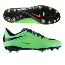 Nike Hypervenom Phelon Youth Soccer Cleats (Neo Lime/Poison Greeen/Metallic Silver/Black)