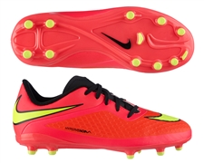 Nike Hypervenom Phelon Youth Soccer Cleats (Bright Crimson/Volt/Hyper Punch/Black)