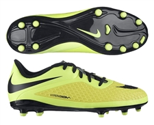 Nike Hypervenom Phelon Youth Soccer Cleats (Vibrant Yellow/Black/Metallic Silver/Volt)