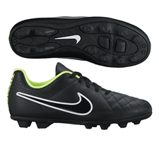 Nike Tiempo Rio II FG Youth Soccer Cleats (Black/Volt/White)