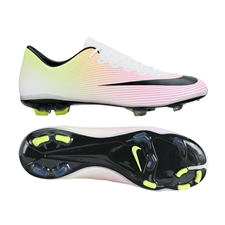 Nike Youth Mercurial Vapor X FG Soccer Cleats (White/Volt/Total Orange/Black)