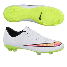 Nike Youth Mercurial Vapor X FG Soccer Cleats (White/Hyper Punch/Volt)