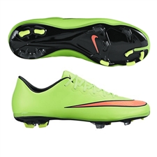 Nike Youth Mercurial Vapor X FG Soccer Cleats (Electric Green/Hyper Punch/Black/Volt)