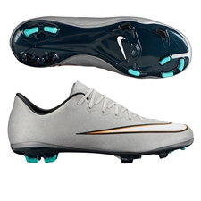 Nike Mercurial Vapor X CR7 FG Youth Soccer Cleats (Metallic Silver/hyper Turquoise/Black)
