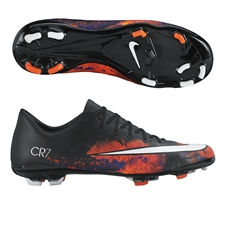 Nike Mercurial Vapor X CR7 FG Youth Soccer Cleats (Black/Total Crimson/Metallic Silver/White)