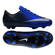 Nike Mercurial Victory V CR7 FG Youth Soccer Cleats (Deep Royal Blue/Racer Blue/Black/Metallic Silver)