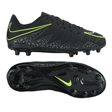 Nike Hypervenom Phelon II Youth Soccer Cleats (Black/Black)