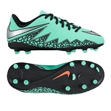 Nike Hypervenom Phelon II Youth Soccer Cleats (Green Glow/Hyper Orange/Metallic Silver)