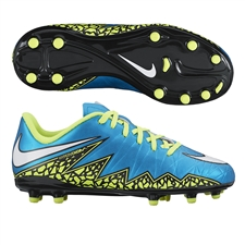 Nike Hypervenom Phelon II Youth Soccer Cleats (Blue Lagoon/Volt/White/Black)