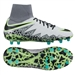 Nike Youth Hypervenom Phantom II Soccer Cleats (Pure Platinum/Black/Ghost Green)
