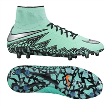 Nike Hypervenom Phantom II Youth Soccer Cleats (Green Glow/Hyper Orange/Metallic Silver)
