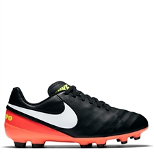 Nike Youth Tiempo Legend VI FG Soccer Cleats (Black/White/Hyper Orange/Volt)