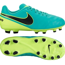 Nike Youth Tiempo Legend VI FG Soccer Cleats (Clear Jade/Volt/Black)