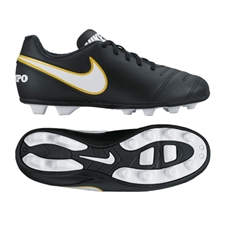 Nike Tiempo Rio III FG Youth Soccer Cleats (Black/White)
