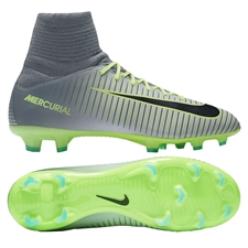 Nike Youth Mercurial SuperFly V FG Soccer Cleats (Pure Platinum/Black/Ghost Green)