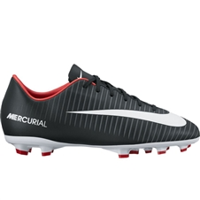 Nike Youth Mercurial Victory VI FG Soccer Cleats (Black/White/Dark Grey/University Red)