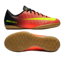 Nike Youth Mercurial Vapor XI Indoor Soccer Shoes (Total Crimson/Volt/Black/Pink Blast)
