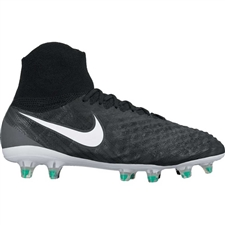 Nike Magista Obra II FG Youth Soccer Cleats (Black/White/Cool Grey/Stadium Green)